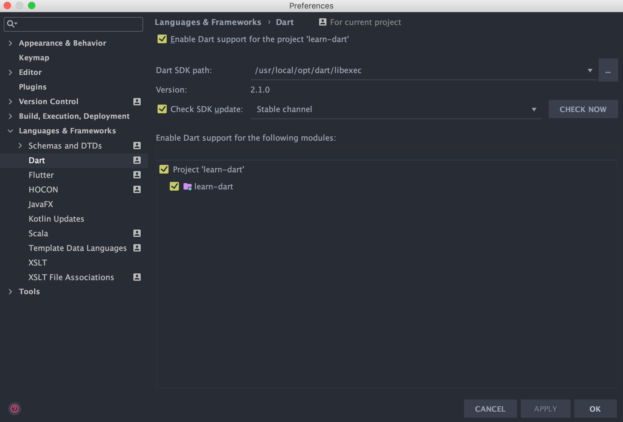 Config Dart SDK inside IntelliJ IDEA