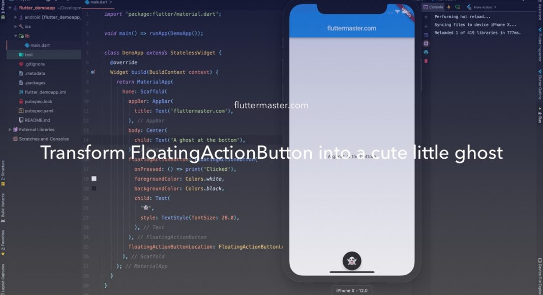 Transform FloatingActionButton into a cute little ghost