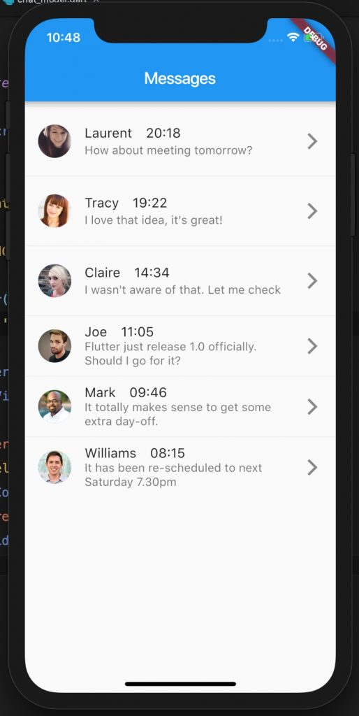 Basic message app UI