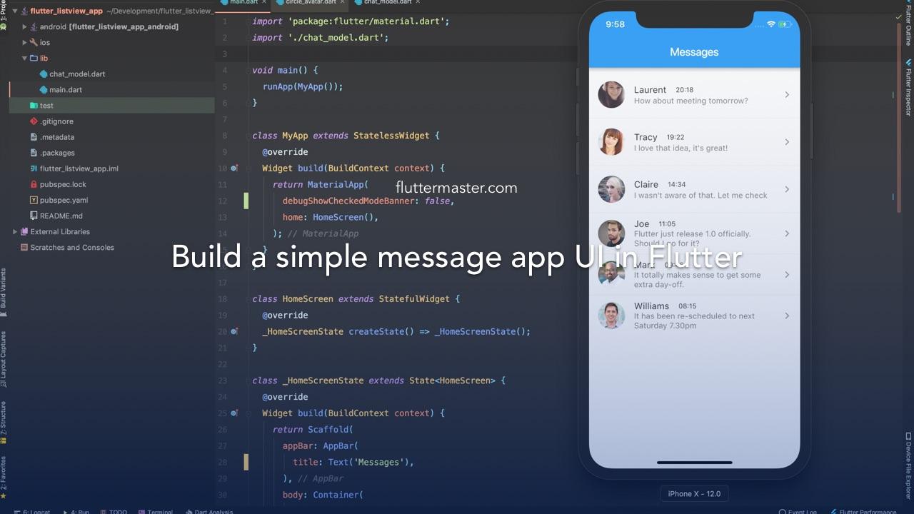 Build a simple message app UI in Flutter • FlutterMaster
